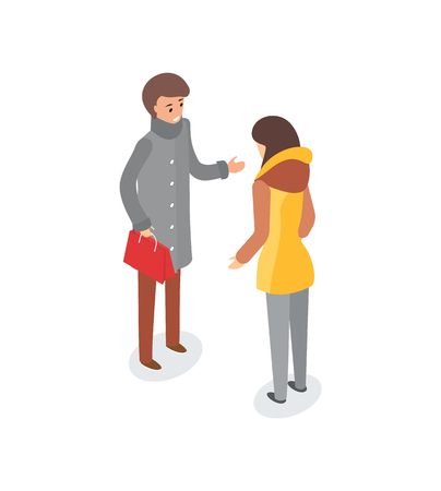 Man and woman talking outdoors, discussion of couple vector. Male and female outside, wearing winter clothes, jackets and trousers. People wintertime