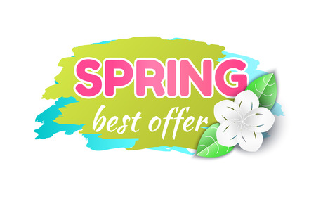 Spring best offer reduction of price banner isolated icon vector. Brush style, text sample and flower in bloom. Cost lower, clearance shop promotion Stockfoto - 125283492