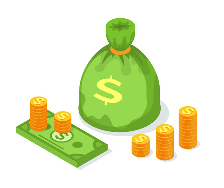 Stack of golden coins, money sack or bag, dollar bills isolated currency vector. Crowdfunding finance and cash, credit payment profit and credit isolated