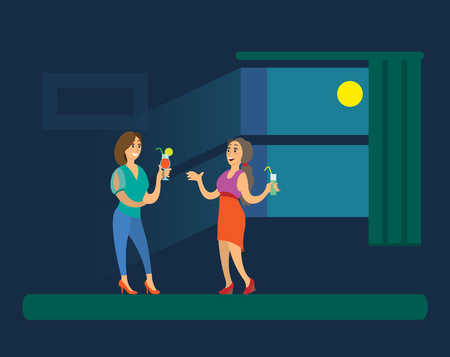 Girls holding cocktails, women in evening dress standing near big window with dark view and glowing moon. Illustration