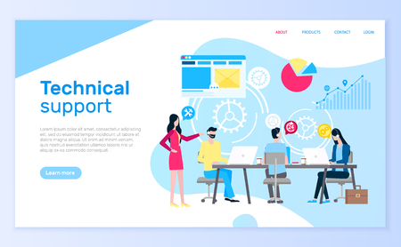 Technical support people answering questions help desk vector. Illustration