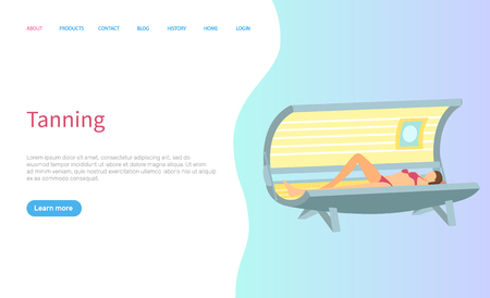 Tanning procedure at spa salon lady in sunroom vector. Woman getting tan on skin, professional treatment in solarium online page with text sample. Website or webpage template landing page in flat Ilustracja