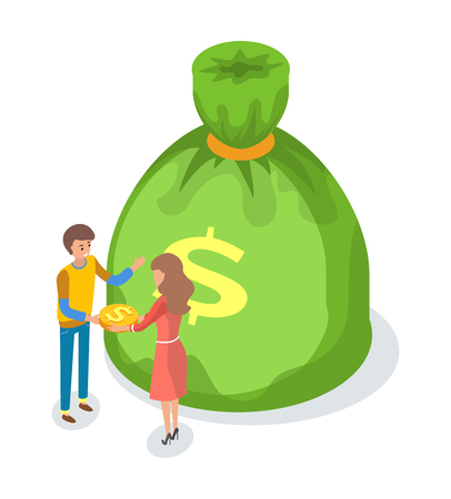 Green money bag with dollar sign, cartoon male and woman exchanging coins, vector crowdfunding concept. Practice of funding project by raising profit Illustration