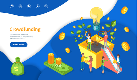 New business or startup crowdfunding web page vector. Inventors and developers, light bulb and plant with coins abstract concept, money investment. Website or webpage template landing page in flat Imagens - 116801826