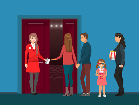 Movies theatre, cinema hall entrance, spectators and check-taker vector. Woman with popcorn, girl in 3D glasses with soda, couple and administrator Ilustracja
