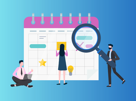 Sitting man with laptop, person holding loupe, woman standing near big paper to do list. Workers searching solutions near flipchart, flat vector people