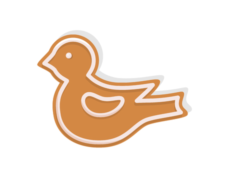 Bird cookie made of gingerbread for Christmas celebration vector. Isolated icon of gingerbread biscuit with topping creamy foam in shape of birdie Imagens - 125283499