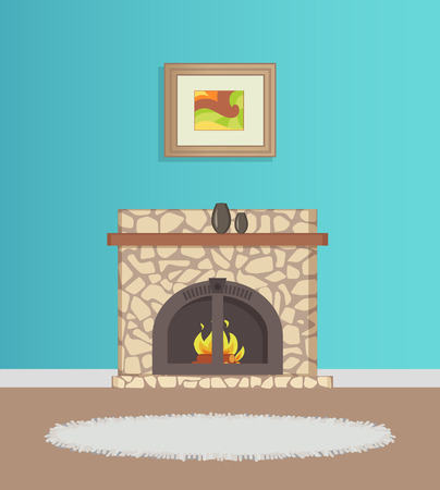 Flat with blue wallpaper and picture on wall, fireplace with burning firewood decorated with vase, grey rug on floor. Modern interior of room vector