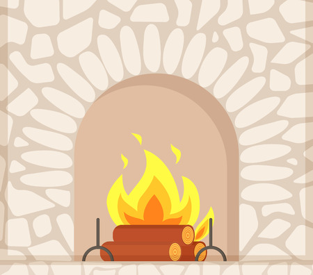 Stone fireplace with burning firewoods, granite bonfire hearth vector closeup. Luxury bonfire, flame and logs, white bricks, home interior furniture piece Illustration