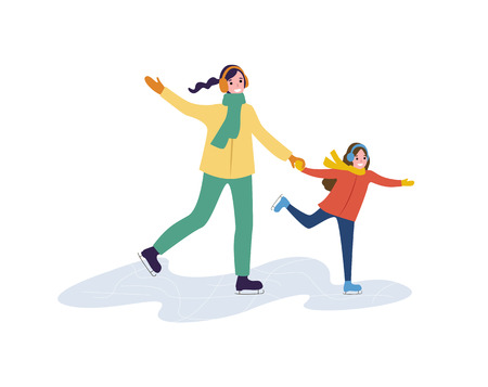 Mum and daughter holding each others and skating. Woman and child in jacket and scarf with earmuffs. Winter family scene isolated on white vector