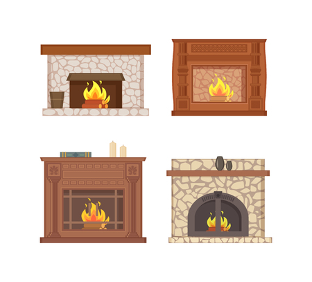 Fireplace with bucket and shelf for vase decor vector isolated icons set vector.