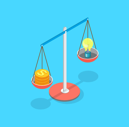 Golden dollar coins and lightbulb put on scales vector. Isolated icon of measurement of resources ideas of business project. Wealth and plans of company