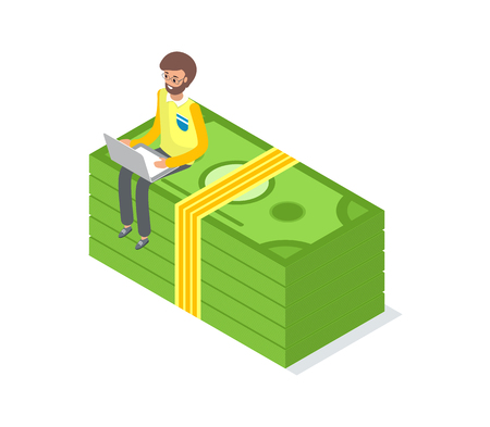 Businessman sitting on money pack isolated vector, stack of dollar bills and man typing on computer, freelancer earning money, crowdfunding concept Illusztráció