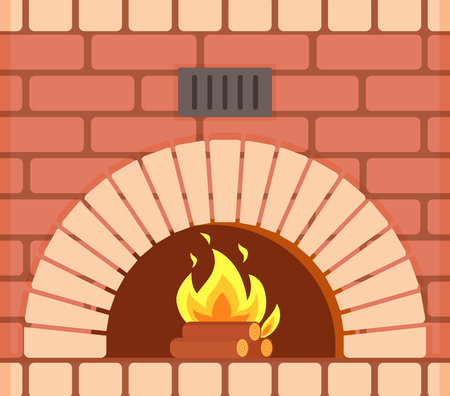 Fireplace with fire burning inside brick arch, vector closeup.