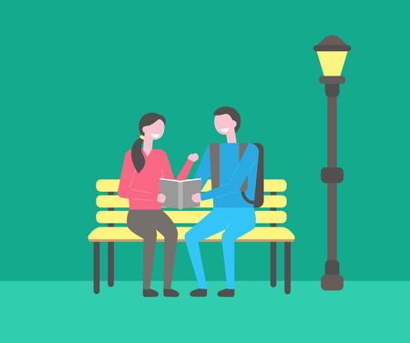Students sitting on bench in campus vector, evening night. Man and woman studying information from book, publication in hands of youth, exam preparation Stock Vector - 125283512
