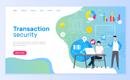 Transaction security team males working in bank vector.