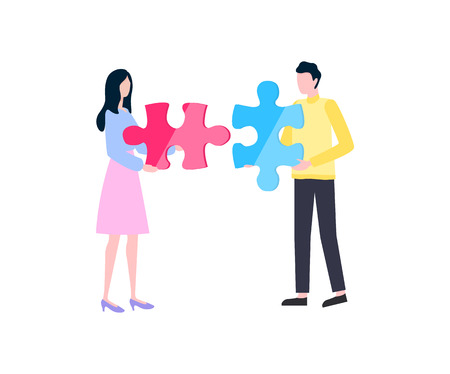 Woman in skirt and man in casual clothes holding and connecting parts of colorful puzzle vector. Teamwork and solution of jigsaw, portrait view of people