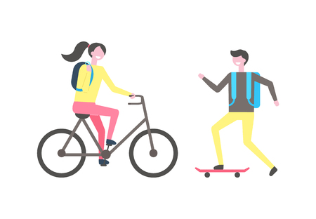 Student skating on skateboard, woman riding on bike vector isolated people. Male skater ride on board, smiling cartoon character with backpack, girl on bicycle Vettoriali