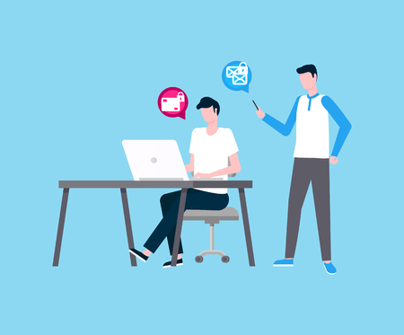 Freelancer man working in team with colleague vector. People thinking on project, security of transactions, coders by laptop with locked messages icon Illustration