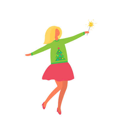Woman in pink skirt and green sweater with evergreen tree. Vector female in flat design isolated icon with firework sparkler item. Girl celebrating Xmas