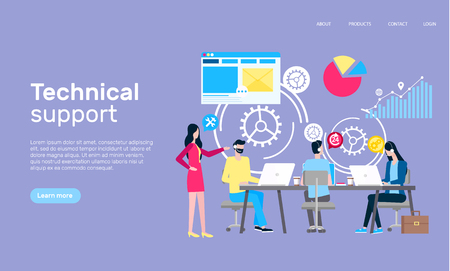 Technical support online web page, Internet shopping vector. Illustration