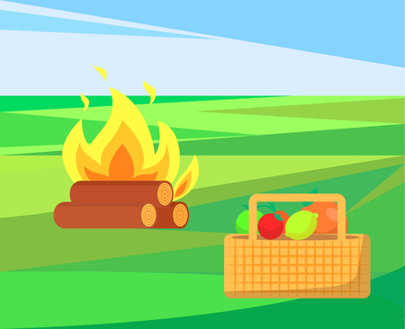 Bonfire with basket and apples, fruits and veggies vector. Container with vegetables, meal harvest of summer. Outdoor activities, camp and picnic 일러스트