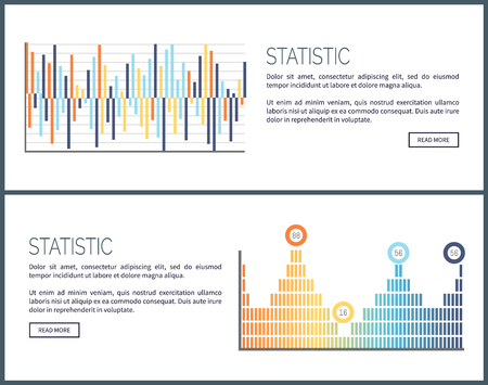 Statistics charts and diagrams visual data web vector. Webpage with text sample, graphics and schemes, visualization of business analysis results info
