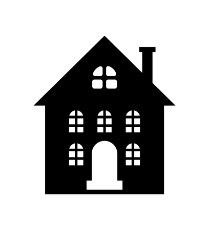 Residential real estate building icon isolated on white.