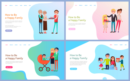 How to be happy family vector. People with pram, parents giving child gift on holiday, married couple celebrating with kids, newborn baby in perambulator. Website template webpage landing page in flat Çizim