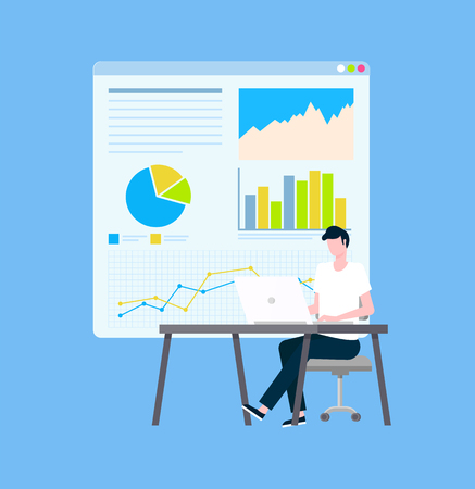 Secure payments statistics and graphics, operator vector. Diagram and charts, man with laptop at desk and online web page, safe Internet shopping