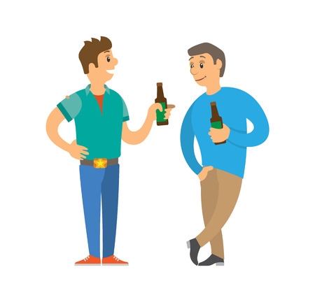 Men holding bottle of beer, drinking and speaking. Portrait view of character boy in colorful clothes. Smiling guy standing in disco club flat vector
