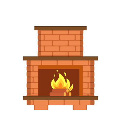 Fireplace paved with bricks shelf for items isolated icon vector. Redbrick construction, installed contemporary interior. Classical flames heating