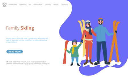 Family skiing activities in winter season web page with text sample vector.