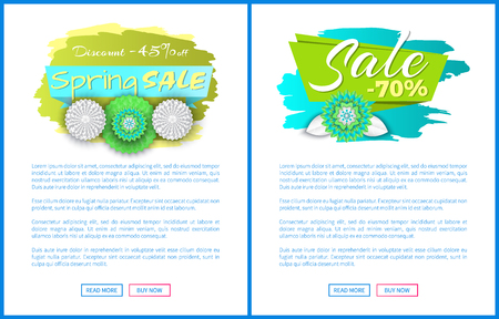 Spring sale forty five percent off, total discounts till 70 , vector web posters set with blooming flowers on promo labels. Template of online page or site