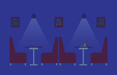 Interior of night club, dark lighting, pictures on wall, sofa and table decorated by flower. Blue room with furniture, relaxing public place flat vector Illustration