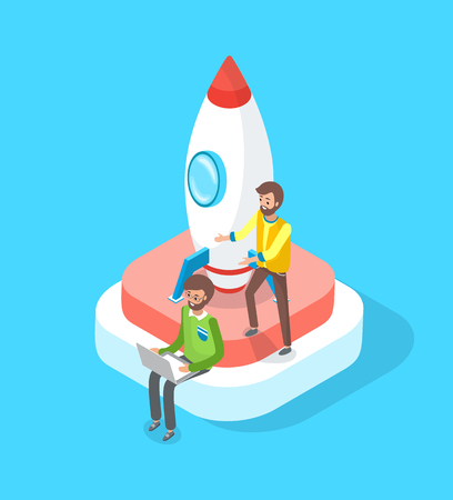 Launching rocket, start up of people vector, teamwork achieving success. Illustration