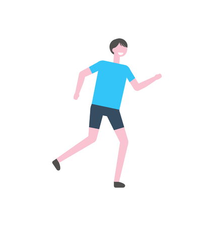 Sportsman in blue t-shirt and black trousers, vector athletic man isolated cartoon character. Runner in sport suit, jogging person in uniform, flat design