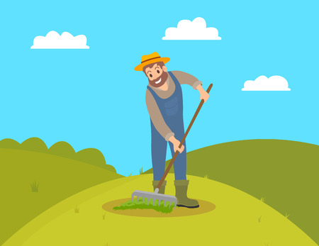 Farmer with rake working on field vector. Man gardener spreading compost fertilizing land ground of farm. Hill with green grass and bushes in distant Illustration