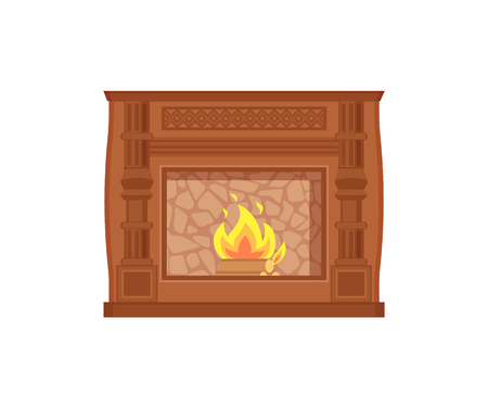 Fireplace with fire heating decoration of home vector. Isolated icon of decor of house, paved with stone, flames and burning wooden material inside