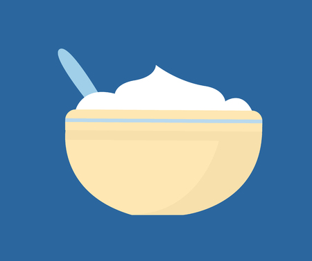 Mashed potatoes in bowl vector. Flat illustration of pratie dish on plate with cutlery isolated on blue. Rustic cooking meal, homemade puree icon