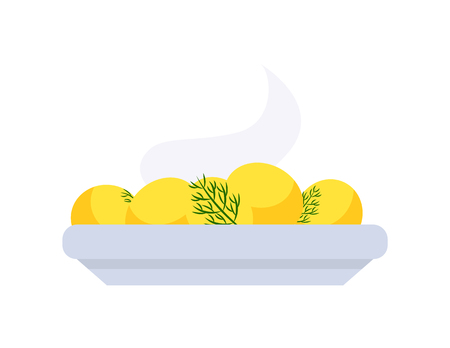 Warm potatoes on plate, holiday dish in flat style isolated on white. Yellow boiled food with parsley vector icon. Traditional cooked meal with greens Illustration