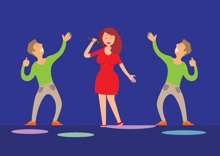 Music performance, singer with microphone and dancers vector. Dancing people male glad to listen to lady vocals. Solo artist musician and dancing fans Illustration