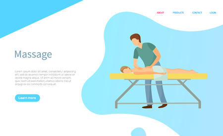Massage service online page vector, professional masseur in uniform and client in towel on procedure table. Body care and treatment, relax and healthcare Ilustrace