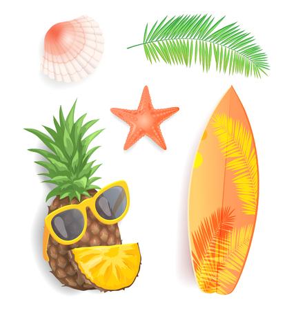 Los iconos aislados del horario de verano fijaron el vector del primer. Concha y estrella de mar, tabla de surf con estampado de hojas.