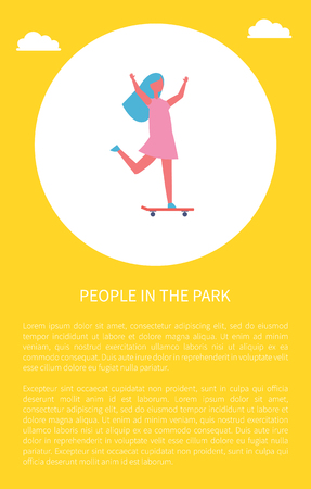 People in park poster girl skateboarding vector illustration in circle. Child in dress having fun standing and riding on skateboard, playing outdoor Standard-Bild - 125283547