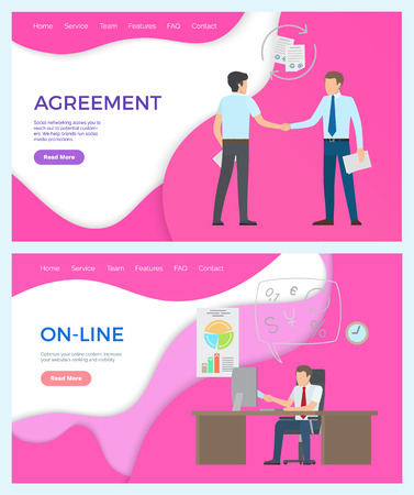 Online business man working in office, agreement of partners vector. Deal of businessman holding contracts. Male at workplace by table with laptop. Website or webpage template landing page in flat