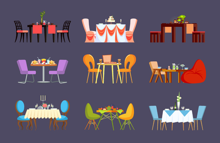 Restaurant tables with dinner or wedding settings vector. Tablecloth and chairs, cake and fast food, pizza and sushi, lemonade and tea, cafe furniture