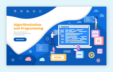 Algorithmization and programming, people developing web services vector. Js and html , css and php computer languages, programmers with laptop screen. Website or webpage template landing page in flat