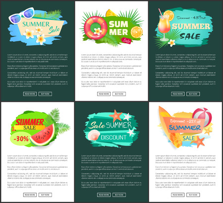 Summer discount and sale banner vector set. Watermelon cocktail with orange slice. Surfing board and ball for playing beach games, seashell and star
