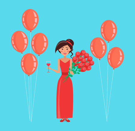 Happy woman vector, lady holding balloons, rose bouquet and wine glass. Flowers given to female, celebration of holiday, person wearing red dress